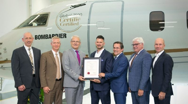 Bombardier Global 7500 aircraft awarded Transport Canada Type Certification